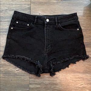 Zara High Waist Black Shorts Jean Distressed